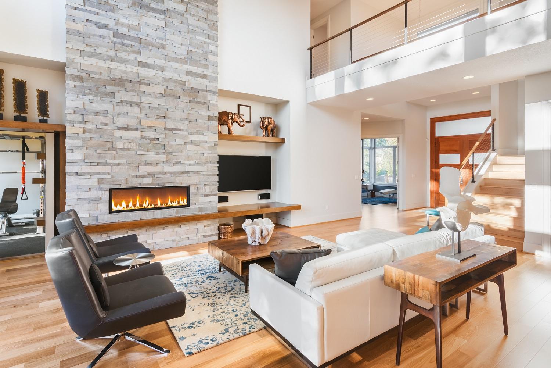 Luxurious living room with hardwood floors