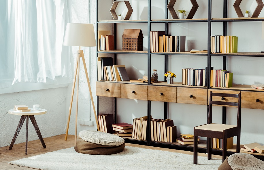 Books are an easy way to lighten up a room