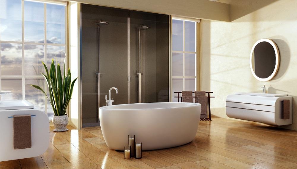 Waterproof vinyl or hybrid planks are popular in bathrooms